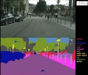 「セマンティック・セグメンテーション」のイメージ。上段の画像が、解析によって下段のように色分けされる